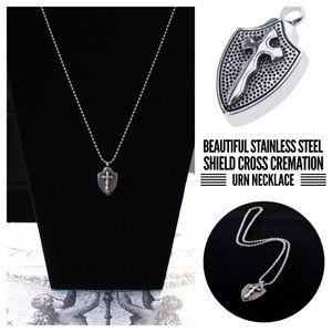 Shield Stainless Steel Cremation Ash Urn Pendant